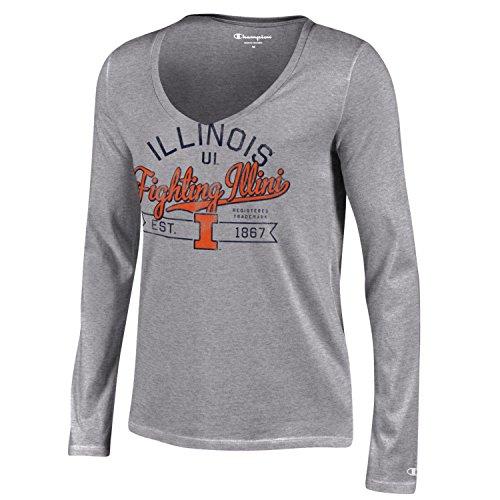 Champion NCAA Illinois Illini Women's University Long sleeve V-Neck T-Shirt, Medium, Gray