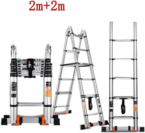 ZPWSNH Escalera Plegable Escalera de extensión portátil de Uso doméstico Subida y Bajada ingeniería Espiga Escalera Recta Doble aleación de Aluminio Taburete (Size : 2m+2m): Amazon.es: Hogar