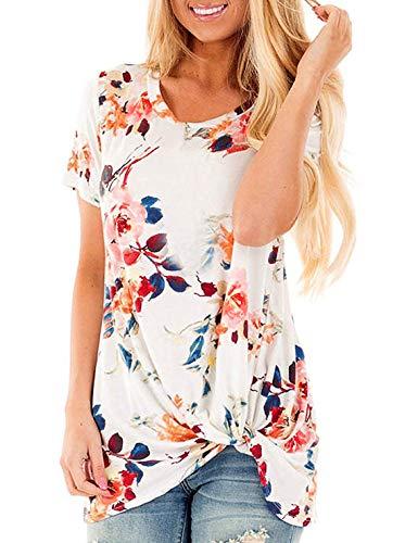 (Sundray Women's Knott T-Shirt Round Neck Tops Casual Tunics Short Sleeve Blouses (X-Large, 2-White))