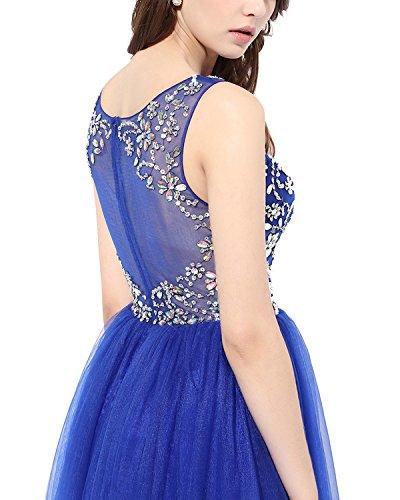 Gown Bridesmaid Tulle Bridesmay Evening Dress Prom Dress Beaded White Illusion Long q1nTzARw