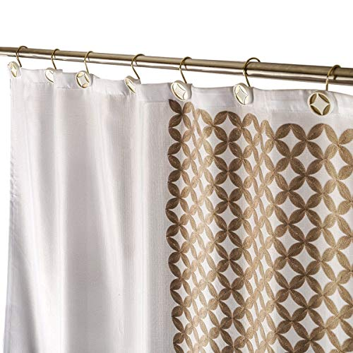 Diamond Lattice Decorative Fabric Gold Shower Curtain, Includes PEVA Shower Curtain Liner, Mildew Resistant, 72 x 72 inch, Polyester Soft Touch Waterproof Washable Cloth Shower Curtains for Bathroom