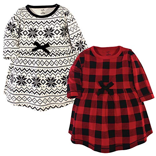 Touched by Nature Baby Girl Organic Cotton Dresses, Buffalo Plaid Long Sleeve 2 Pack, 6-9 Months (9M)