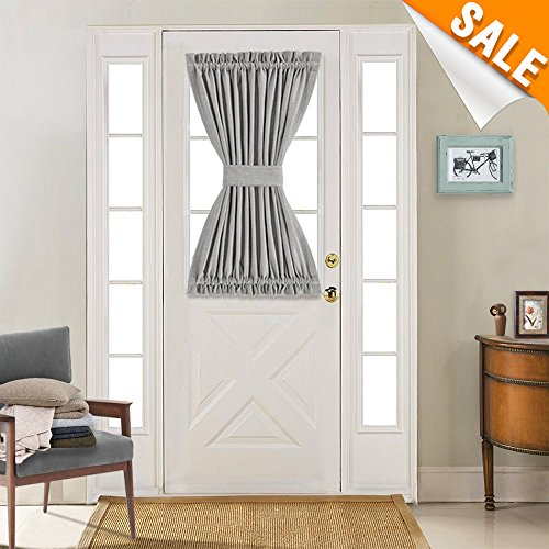 (Privacy French Door Panel with Tieback Linen Textured Look Room Darkening French Door Curtains 40 Inch Long (1 Piece, Soft)