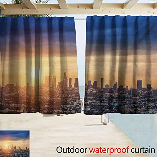 Rod Pocket Blackout Curtain Panels,City Sunrise at Los Angeles Urban Architecture Tranquil Scenery Majestic Sky,Room Darkening, Noise Reducing,W55x39L Inches,Navy Blue Apricot Ivory (Time Difference Between Los Angeles And Ohio)
