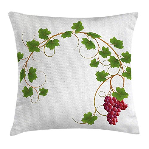 Riolaops Grapes Home Decor Throw Pillow Cushion Cover, Curved Ivy Branch Deciduous Woody Wines Seed Clusters Cabernet Kitchen, Decorative Square Accent Pillow Case, 26 X 26 Inchess, Green Purple ()