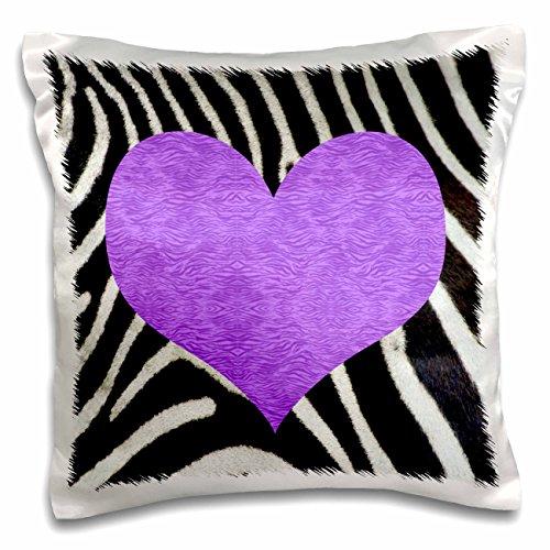 - 3dRose Punk Rockabilly Zebra Animal Stripe Purple Heart Print - Pillow Case, 16 by 16-inch (pc_20390_1)