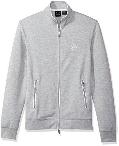 A|X Armani Exchange Men's Full Zip Mock Neck Fleece, Heather Grey, - Exchange Men Sweater Armani