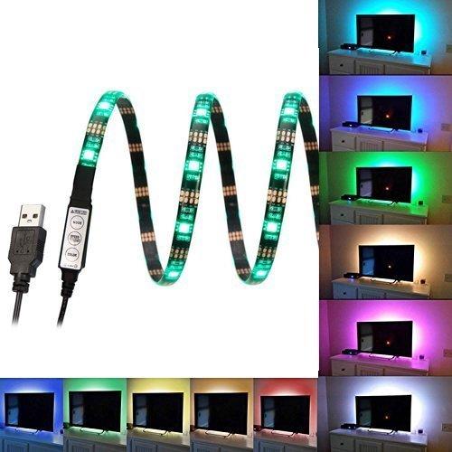 - USB LED Strip Light, NewBull Multicolor Bias Lighting Kit 35.4 Inch 5V USB Powered Waterproof RGB TV Backlighting for HDTV, Flat Screen LCD