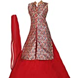 Zaffron Girls' Designer Brocade Lehenga Sets 3 Pieces Indian Part Dress Set 4 To 14 Years Sizes (Red and Blue, 26 (6-7 Years))