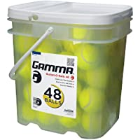 Gamma Pressureless Tennis Ball Bucket| Case w/48 Practice Balls| Sturdy/Reusable/Portable Bucket to Replace Less Durable Tennis Mesh Bags| Ideal For All Court Types Premium Tennis Accessories