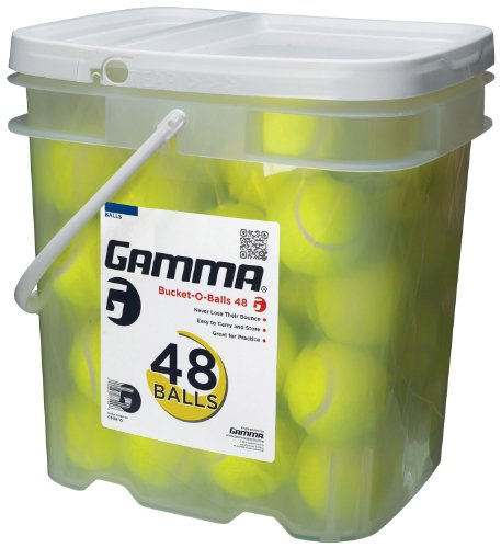 GAMMA Pressureless Tennis Ball Bucket| Case w/48 Practice Balls| Sturdy/Reusable/Portable Bucket to Replace Less Durable Tennis Mesh Bags| Ideal For All Court Types| Gamma Premium Tennis (Practice Tennis Balls Case)