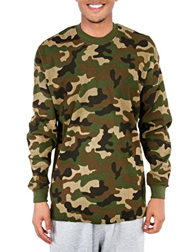 Pro Club Men's Heavyweight Cotton Long Sleeve Thermal Top, Large, Green Camo ()
