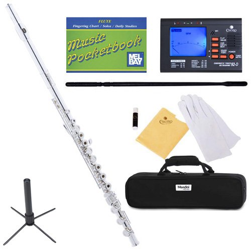 Mendini MFE-22S+SD+PB+92D Intermediate Open/Closed-Hole Silver Plated C Flute with Case, Tuner, Stand, and More by Mendini