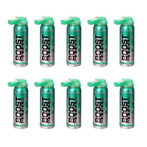 Boost Oxygen 2 Liter Natural Portable Canned O Oxygen Bottle, Menthol (10 Pack)