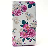 Galaxy Grand Prime Case ,Galaxy G530 Case ,Camiter Peony Flower Design Folio Leather Stand Protective Skin Cover Case with Magnetic Closure For Samsung Galaxy Grand Prime G530 G530H(Build in Stand Function /Card Slot)
