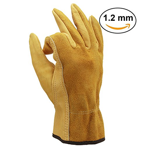 OZERO Mechanic Gloves, Genuine Cowhide Leather Working Glove with Elastic Wrist for Men & Women - Good Grip & Flexible for Heavy Duty/Truck Driving/Warehouse/Gardening/Farm - Yellow (1 - Mens Tucson Warehouse