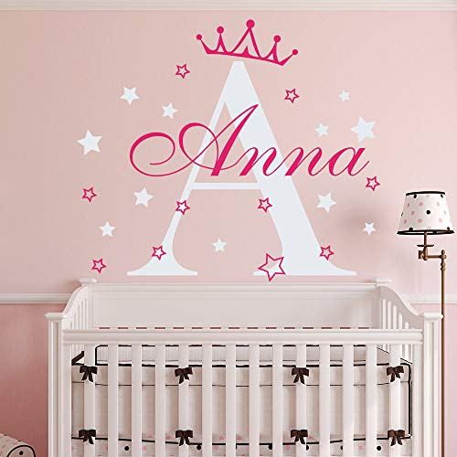 pabear Wall Decal Sticker Mural Vinyl Arts and Sayings Mural Art Custom Girls Name Crown Princess Bedroom Decor Nursery Kids Room Personalzied Initial ()