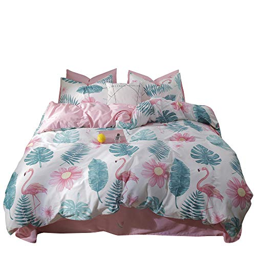 Duvet Cover, Tropical Leaves Teens Bedding Comforter Cover Set Twin Cotton Flamingo Girls Bedding Sets Twin with Leaf Pattern and 2PC Pillowcases Women Quilt Duvet Cover Twin 3 Pieces, No - Collection Leaf Tropical