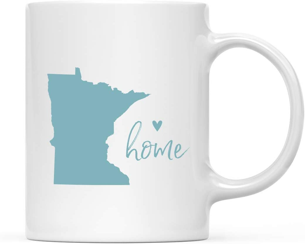 Andaz Press 11oz. US State Coffee Mug Gift, Aqua Home Heart, Minnesota, 1-Pack, Unique Hostess Distance Moving Away Christmas Birthday Gifts for Her