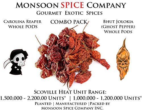 (Monsoon Spice Company Carolina Reapers Dry Whole Pepper Pods Hottest Peppers in the World | Free Domestic Shipping (Combo Deals, Carolina 6 PODS + Ghost Pepper 12 PODS))