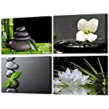 VVOVV Wall Decor - 4 Panels Black Zen Stone Poster Canvas Wall Art Prints White Orchid and Lotus Painting Modern Printed Green Bamboo Picture Framed Giclee Artwork Contemporary Home Decor