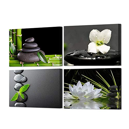 (VVOVV Wall Decor - 4 Panels Black Zen Stone Poster Canvas Wall Art Prints White Orchid and Lotus Painting Modern Printed Green Bamboo Picture Framed Giclee Artwork Contemporary Home Decor)