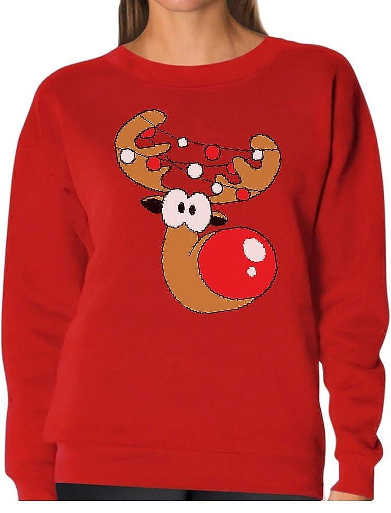 TeeStars - Reindeer Face Funny Christmas Women Sweatshirt GhPh3rrg8