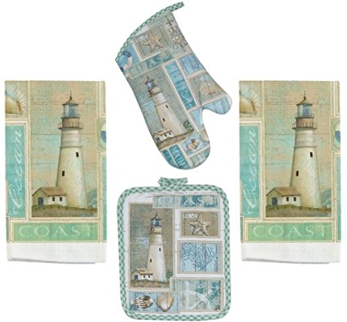 4-Piece-Coastal-Lighthouse-Kitchen-Set-2-Terry-Towels-Oven-Mitt-Potholder