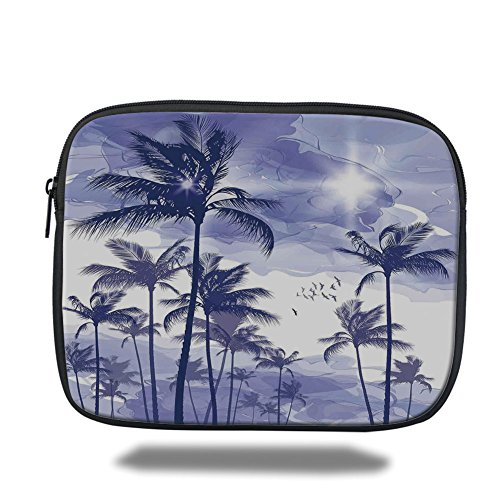 Laptop Case Beverly (Laptop Sleeve Case,Ocean,Exotic Tropical Tall Palm Trees at Beverly Hills Sunset on Windy Day Abstract Artsy Print Decorative,Blue,iPad Bag)