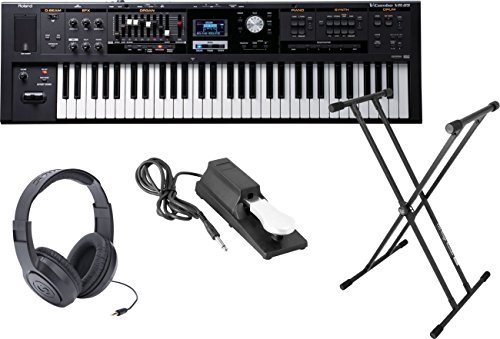 Roland VR-09 'V-Combo' 61-Note Live Performance Keyboard w/Sustain Pedal, Double X Stand, and Headphones (App V Sequencer Best Practices)