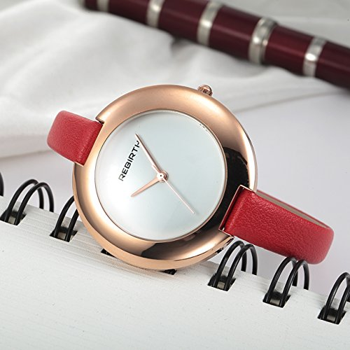 Top Plaza Ladies Red Fashion Big Face Watch Analog Quartz Thin PU Leather Blank Space Dial Daily Waterproof by Top Plaza (Image #2)