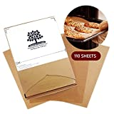Fresher Kitchen Premium Unbleached Parchment Paper Sheets - 110 Sheets - Exact Fit for 12x16 Half-Sheet Baking Pans