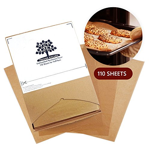 Fresher Kitchen Premium Unbleached Parchment Paper Sheets - 110 Sheets - Exact Fit for 12x16 Half-Sheet Baking Pans by Fresher Kitchen