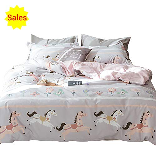 (OTOB Pink Girls Duvet Cover Twin Bedding Sets Cotton Cartoon Butterfly Horse Flowers for Kids Toddler Teen White Grey Gingham Plaid Twin Duvet Cover Set Reversible Comfortable Colorful)