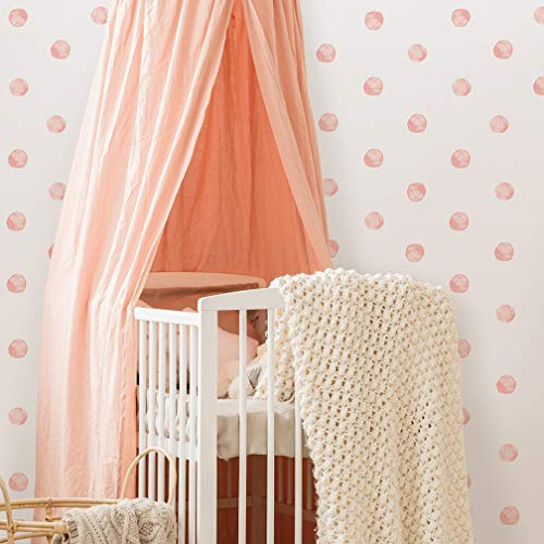 Better Than Paint E116372 Watercolor Dots, 144 Wall Art Transfers | Fast & Easy, Blush Pink (Best Paint For Nursery Walls)