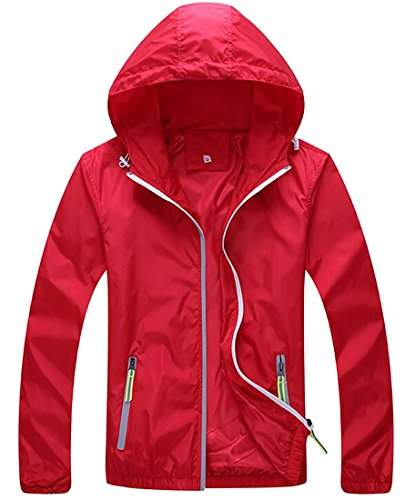 Zip Front Windbreaker - Sweatwater Women's Casual Plus Size Hooded Zip-Front Windbreaker Jackets Red 4X-Large