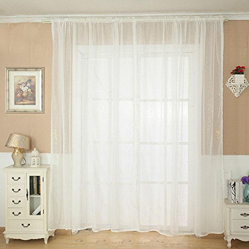 Solid Color Tulle Door Window Curtain Drape Panel Sheer Scarf Valance White - 6