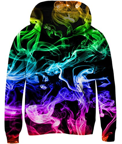 - Idgreatim Boys Girls Smoke Hoodies 3D Printed Long Sleeve Sweatshirt Cool Hooded Tops for School 11-13 Years