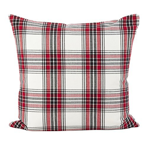 SARO LIFESTYLE Tartan Plaid Pattern Traditional Cotton Down Filled Throw Pillow 20