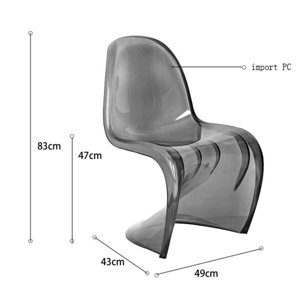 YLCJ möbler S genomskinlig stol modern minimalistisk stol kreativ stol 49 x 43 x 83 cm/rosa abs Blå ABS Gul abs