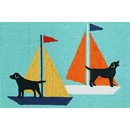 - Liora Manne FT123A49903 Whimsy Boat Dog Rug, Indoor/Outdoor, 24