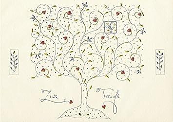 Decoart 1 Glückwunschkarte Taufe Baum Lebensbaum Mit Umschlag 11 X 17 Cm Turnowsky