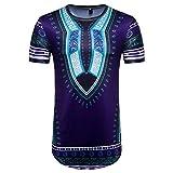 Vanvler Men African Print Shirt Male [ Short Sleeve T-shirt ] Hipster Blouse Vintage Top (2XL, PURPLE)