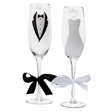 Amazon mr and mrs champagne glasses for bride and groom mr and mrs champagne glasses for bride and groom wedding and engagement flutes set by gift solutioingenieria Choice Image