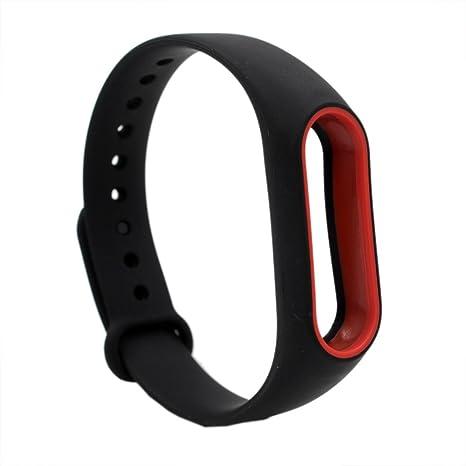 XIHAMA Correa Compatible con Xiaomi Mi Band 2, Silicona Correa (Negro/Rojo)