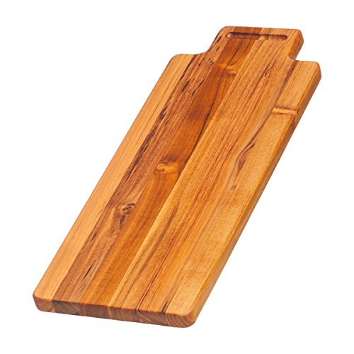 (Teak Cutting Board - Rectangle Serving Board With Hand Grip (18 x 7 x .75 in)  By Teakhaus)