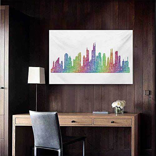 - duommhome Chicago Skyline Simulation Oil Painting Abstract City Scene in Mixed Rainbow Tones Modern Featured Artful Kitsch Decorative Painted Sofa Background Wall 28