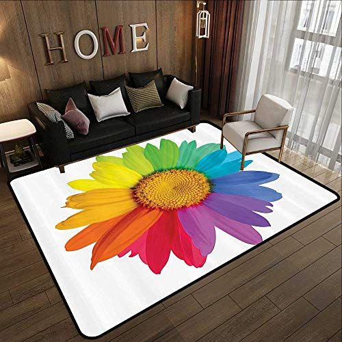 Low-Profile Mats,Flower Decor,Rainbow Colored Sunflower or Daisy Spring Inspired Image Hippie Style Print Modern Home Decor,Multi 71