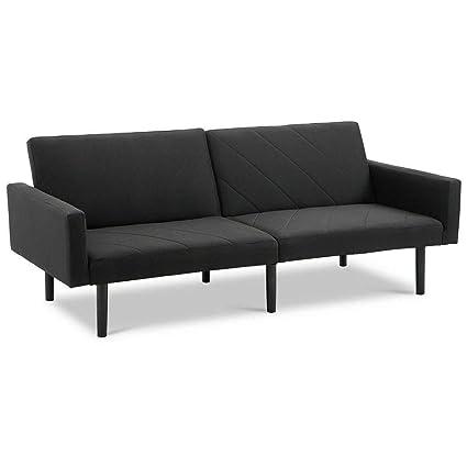 Brilliant Amazon Com Seleq Black Linen Reclining Sofa Bed For Home Creativecarmelina Interior Chair Design Creativecarmelinacom