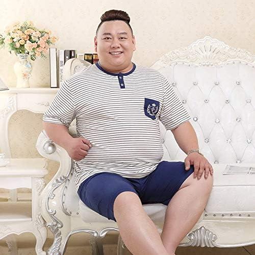 パジャマ CHJMJP ショートパジャマホームメンズコットンパジャマは夏100%コットンショーツセクシーPijamas Homensパジャマを設定します。 (Color : Blue stripes 9822, Size : XXXL)
